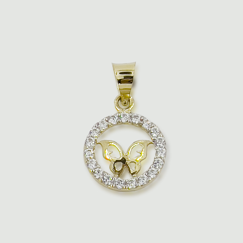 Přívěsek motýlek ze žlutého zlata v kroužku se zirkony