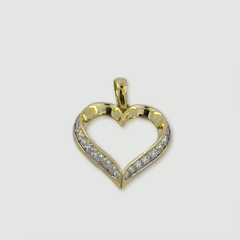 Přívěsek ze žlutého zlata s bílými zirkony – motiv srdíčko