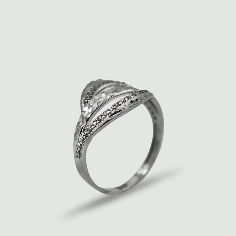 Dámský prsten z bílého zlata osázený cubickými zirkony 271