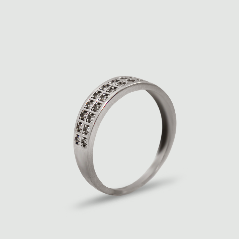 Dámský prsten z bílého zlata s cubickými zirkony 446