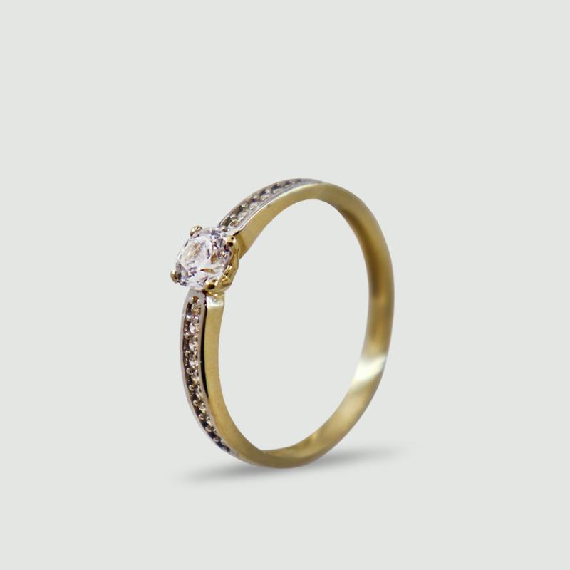 Dámský prsten ze žlutého zlata se solitérním kamenem a zirkony 428
