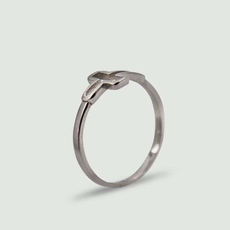 Dámský prsten z bílého zlata s motivem kříže 270