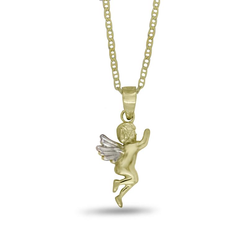 Náhrdelník s andělem ve žlutém zlatě (přívěsek + řetízek) 383