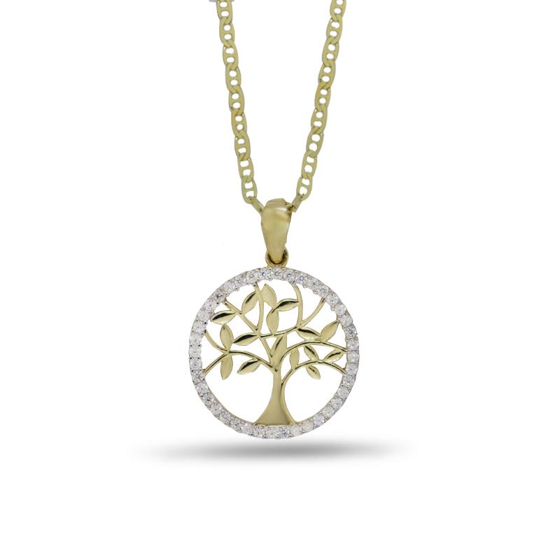 Náhrdelník se stromem života ve žlutém zlatě (přívěsek + řetízek) 375