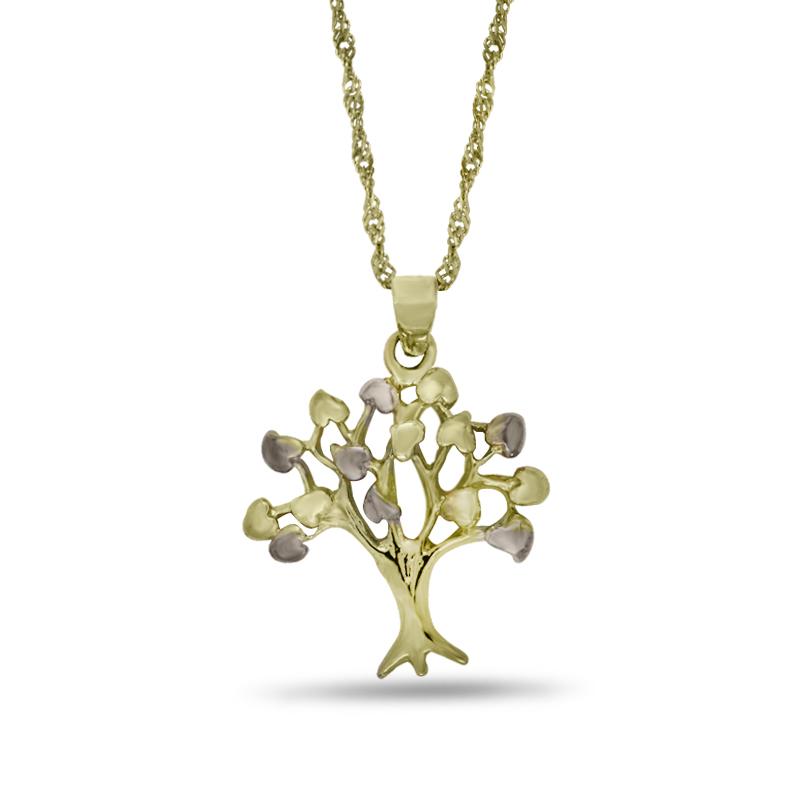 Náhrdelník se stromem života ve žlutém zlatě (přívěsek + řetízek) 0019/1