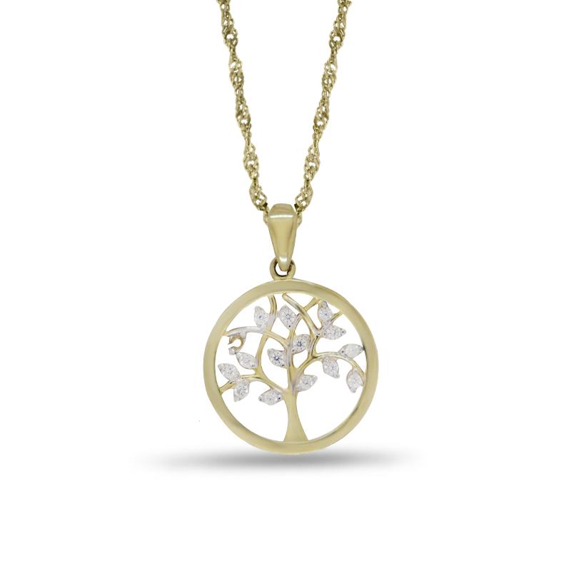 Náhrdelník se stromem života ve žlutém zlatě (přívěsek + řetízek) 0019/5