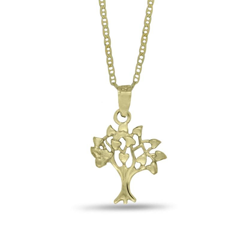 Náhrdelník se stromem života ve žlutém zlatě (přívěsek + řetízek) 1249/2