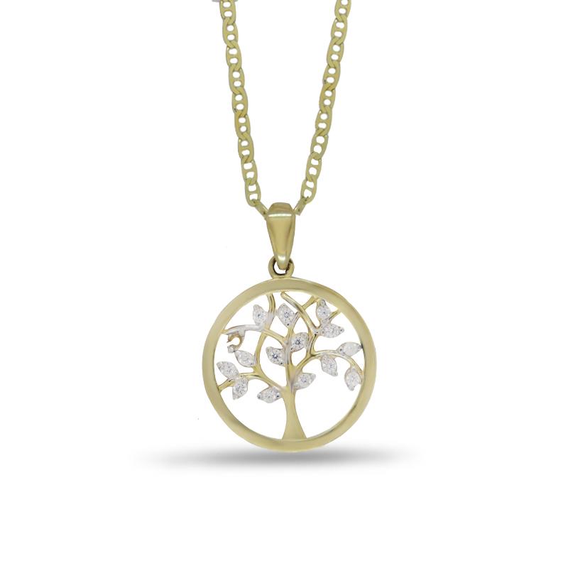 Náhrdelník se stromem života ve žlutém zlatě (přívěsek + řetízek) 1249/5