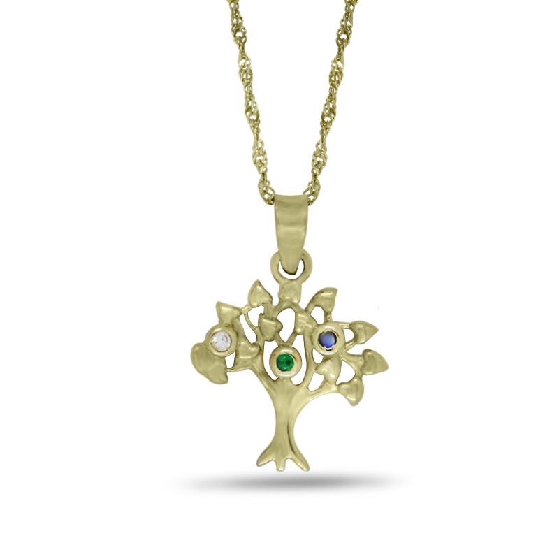 Náhrdelník se stromem života ve žlutém zlatě (přívěsek + řetízek) 0019/3
